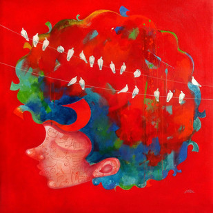 The childhood viii by shiv kumar soni, Expressionism Painting, Acrylic on Canvas, Red color
