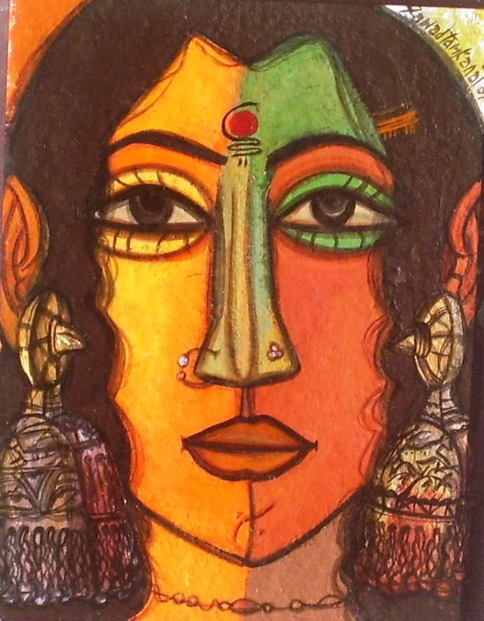 Woman Face By Artist Fawad Tamkanat Expressionism