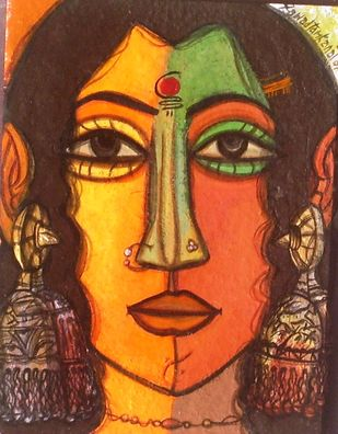 Woman Face by Fawad Tamkanat, Expressionism Painting, Acrylic on Paper, Brown color