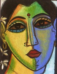 Woman Face 2 by Fawad Tamkanat, Expressionism Painting, Acrylic on Paper, Brown color