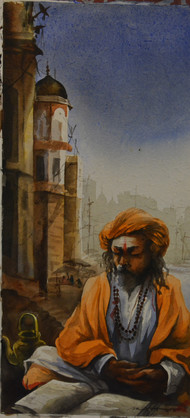 Banaras by Sudip Roy, Realism Painting, Watercolor on Paper, Brown color