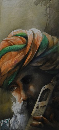 Rajasthan Man by Sudip Roy, Expressionism Painting, Watercolor on Paper, Brown color