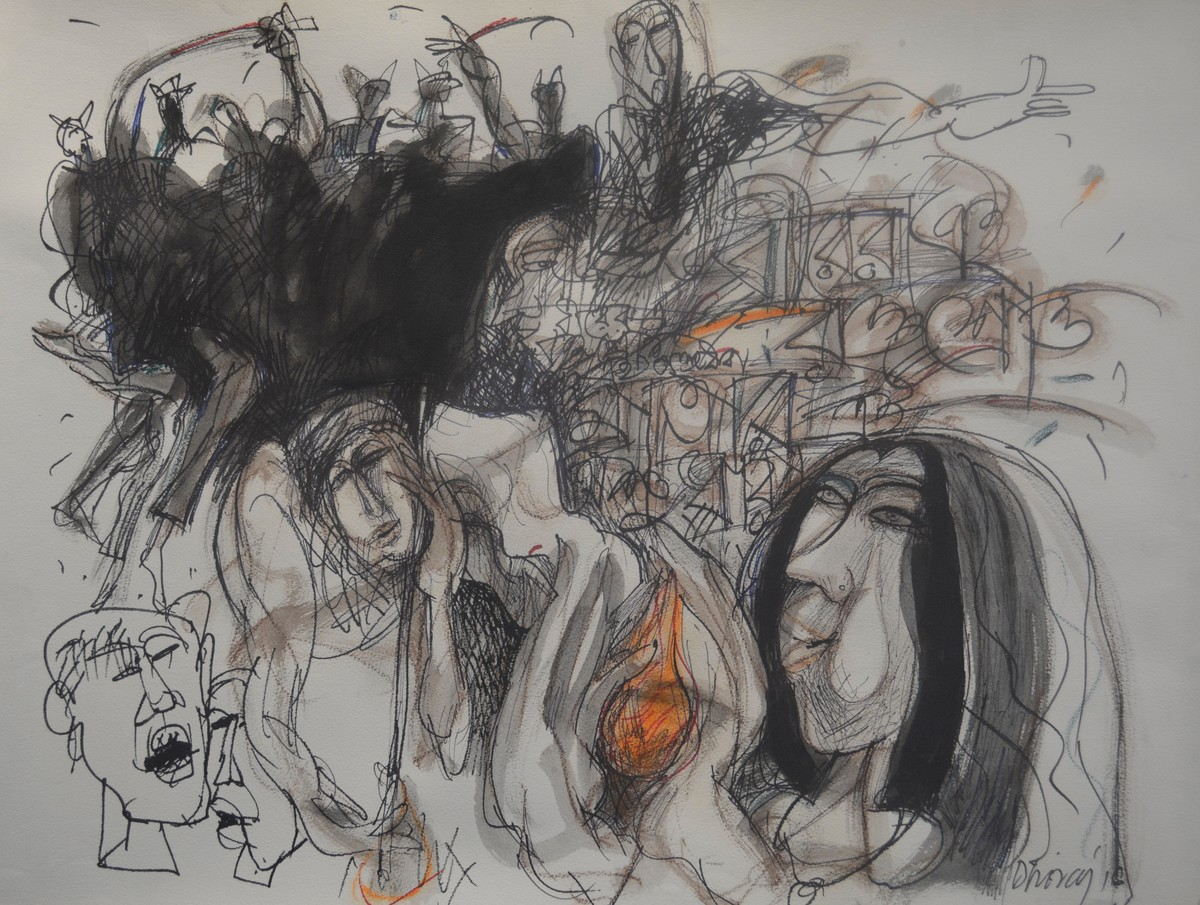 Untitled by Dhiraj Choudhury, Expressionism Drawing, Mixed Media on Paper, Gray color