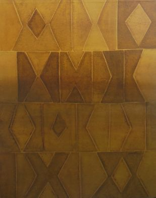 Innerscapes 25 by Gayatri Deshpande, Geometrical Painting, Acrylic on Canvas, Brown color