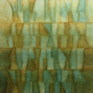 Innerscapes 26 by Gayatri Deshpande, Geometrical Painting, Acrylic on Canvas, Green color