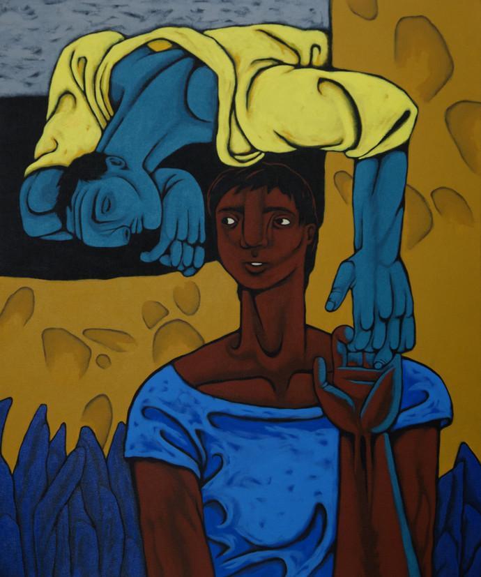 Untitle by Nitin Kushwaha, Expressionism Painting, Acrylic on Canvas, Blue color