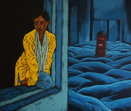 untitle by Nitin Kushwaha, Expressionism Painting, Acrylic on Canvas, Blue color