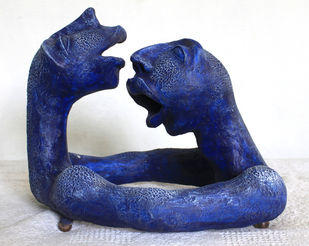 communication by Vivek Prasad, Expressionism Sculpture | 3D, Mixed Media on Wood, Blue color