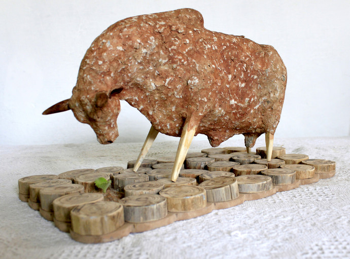 untitled by Vivek Prasad, Conceptual Sculpture | 3D, Mixed Media on Wood, Brown color