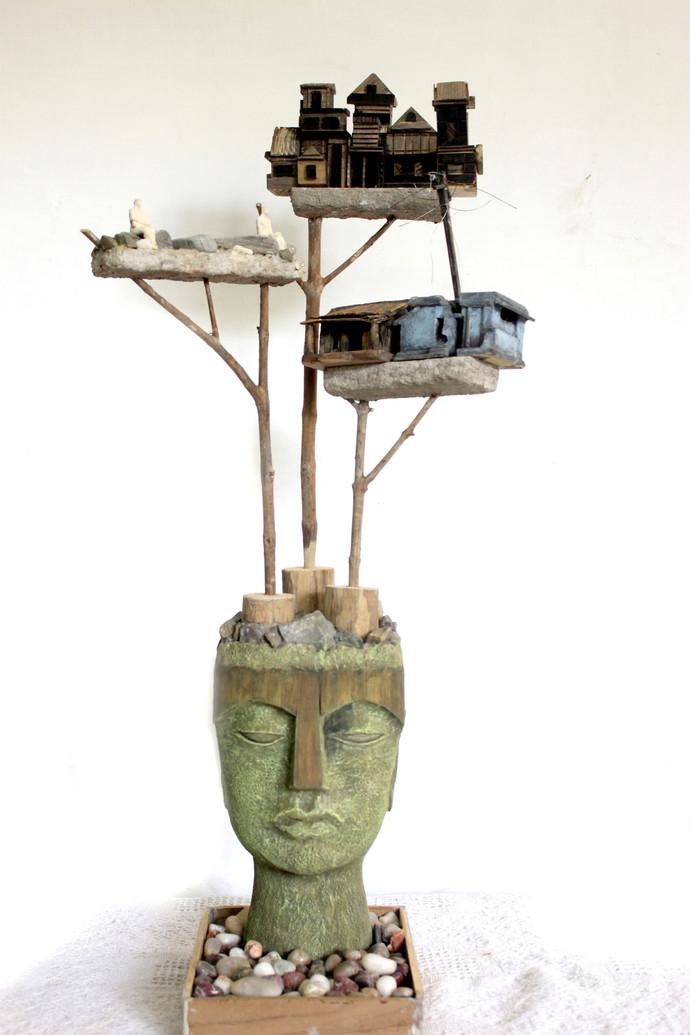 dream merchant by Vivek Prasad, Decorative Sculpture | 3D, Mixed Media on Wood, White color