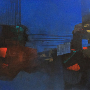 Untiteled by sharath kumar , Abstract Painting, Acrylic on Canvas, Blue color