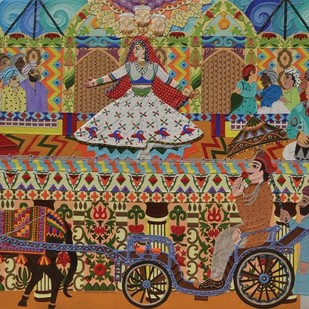The Royal Saga (Mujra) by Sailesh Sanghvi, Traditional Painting, Mixed Media on Canvas, Brown color