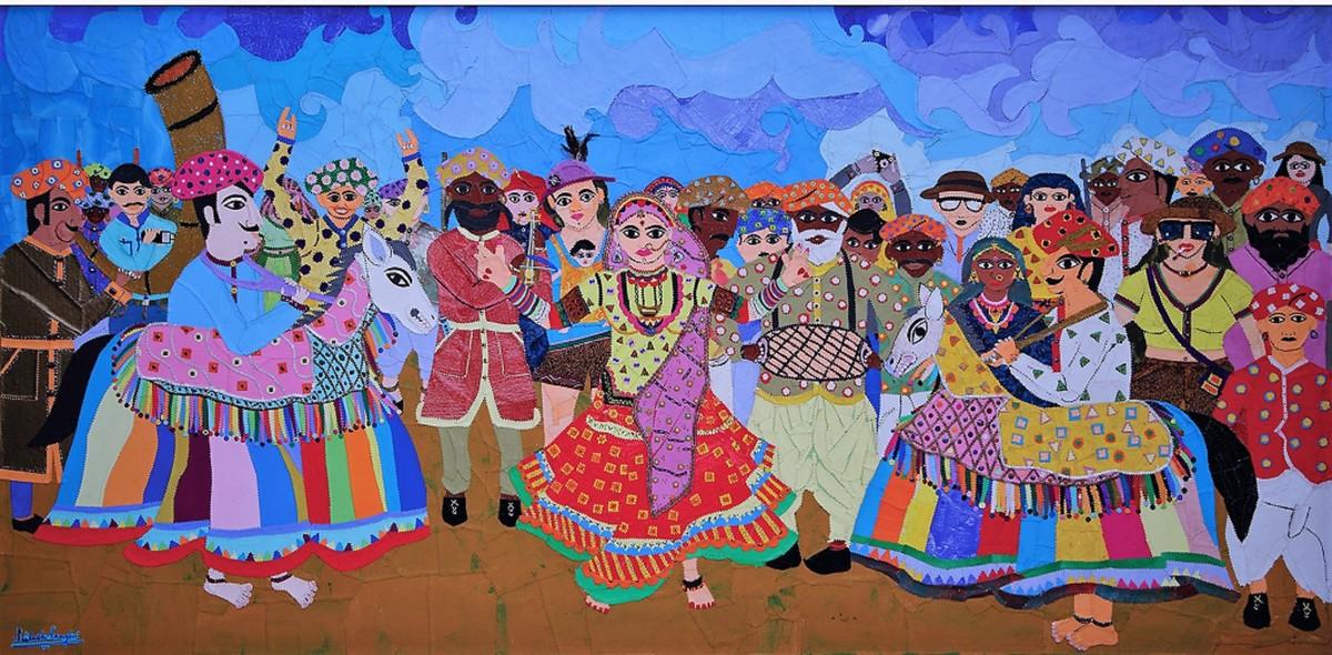 The Horse Spectacle (Kachhi Ghodi) Digital Print by Sailesh Sanghvi,Expressionism