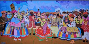 The Horse Spectacle (Kachhi Ghodi) by Sailesh Sanghvi, Expressionism Painting, Mixed Media on Canvas, Brown color