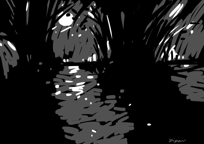 Moonlit night through bamboo bush by Dipanjan Bose, Abstract Digital Art, Linocut Print on Paper, Black color
