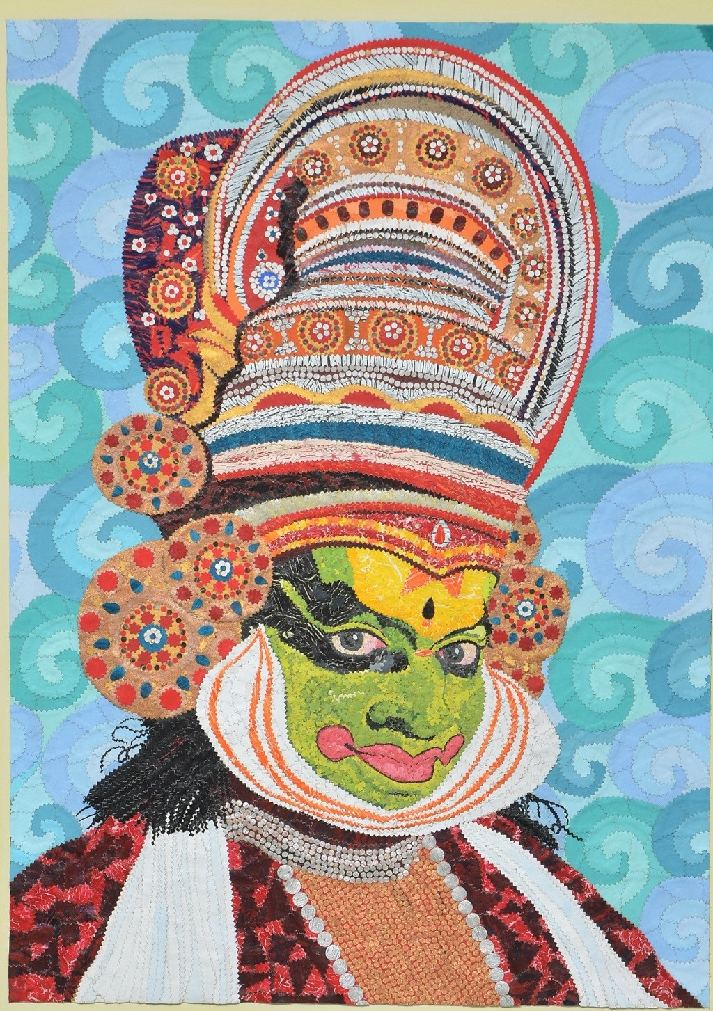 The Kathakali Expressions-2 by Sailesh Sanghvi, Impressionism Painting, Mixed Media on Canvas, Brown color