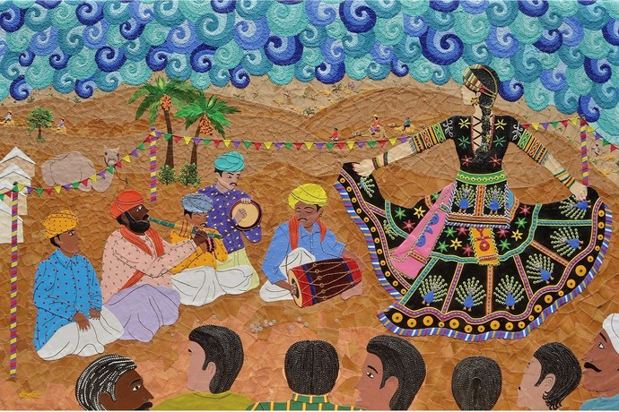 Rhythm of the Desert-Kalbelia Dance by Sailesh Sanghvi, Impressionism Painting, Canvas Acrylic Collage, Brown color