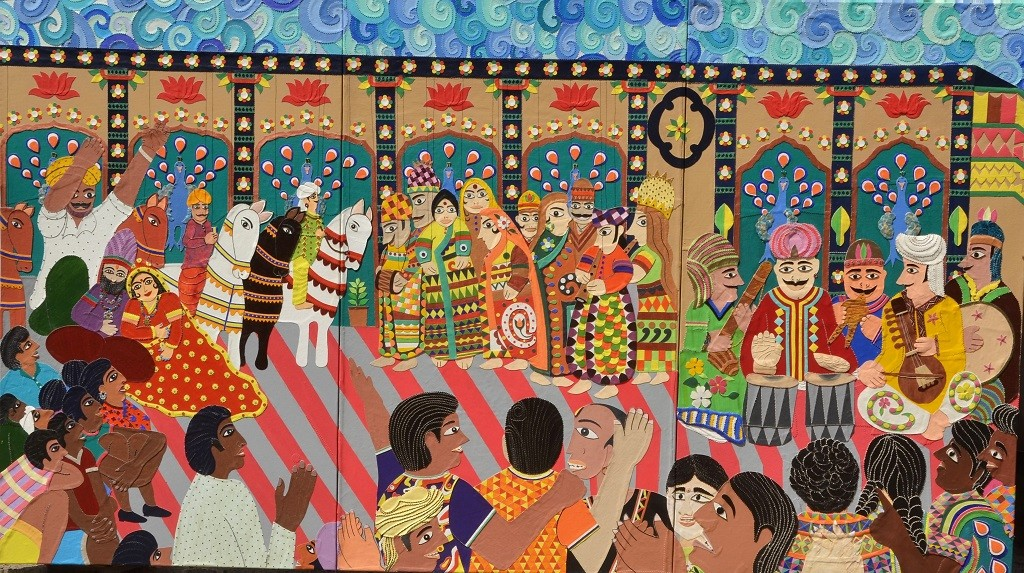 Puppet Theatre- Stories Celebrated by Sailesh Sanghvi, Impressionism Painting, Canvas Acrylic Collage, Brown color