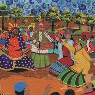The Beats of Punjab by Sailesh Sanghvi, Impressionism Painting, Canvas Acrylic Collage, Brown color