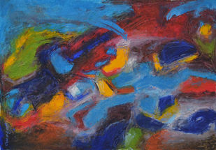 Composition 73 by Ganapathy Subramaniam, Abstract Painting, Oil on Paper, Blue color
