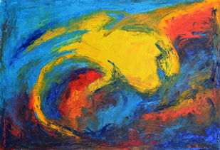 Composition 75 by Ganapathy Subramaniam, Abstract Painting, Oil on Paper, Blue color