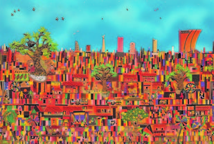 Cityscapes by Sailesh Sanghvi, Impressionism Painting, Mixed Media, Brown color