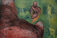 NO means NO by Tarun Sharma, Expressionism Printmaking, Intaglio on Paper, Brown color