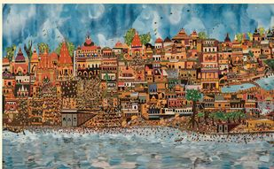 Gateway to the Gods (Devbhoomi)- Haridwar by Sailesh Sanghvi, Impressionism Painting, Mixed Media, Brown color