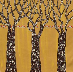 Gazaf Vriksh by Sumit Mehndiratta, Impressionism Painting, Acrylic on Canvas, Brown color