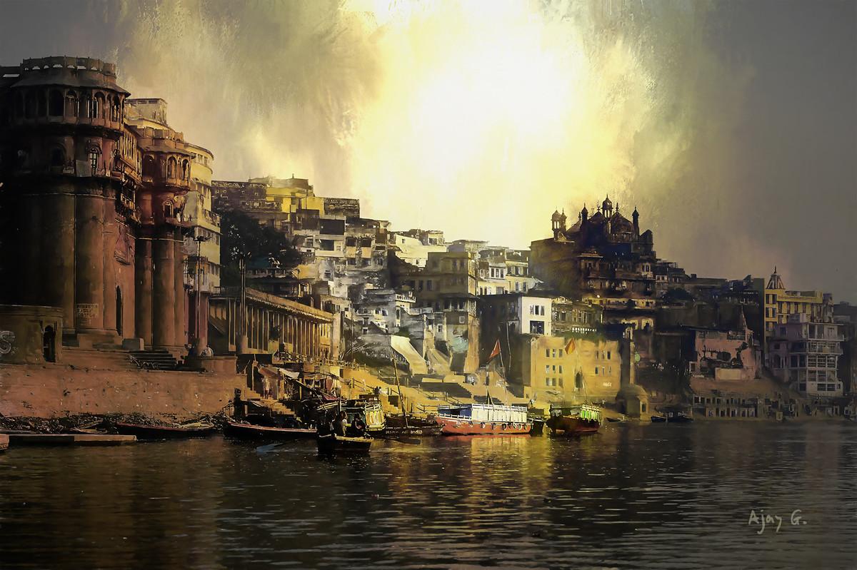 Varanasi # 4 by Ajay Goel, Image Digital Art, Digital Print on Archival Paper, Brown color