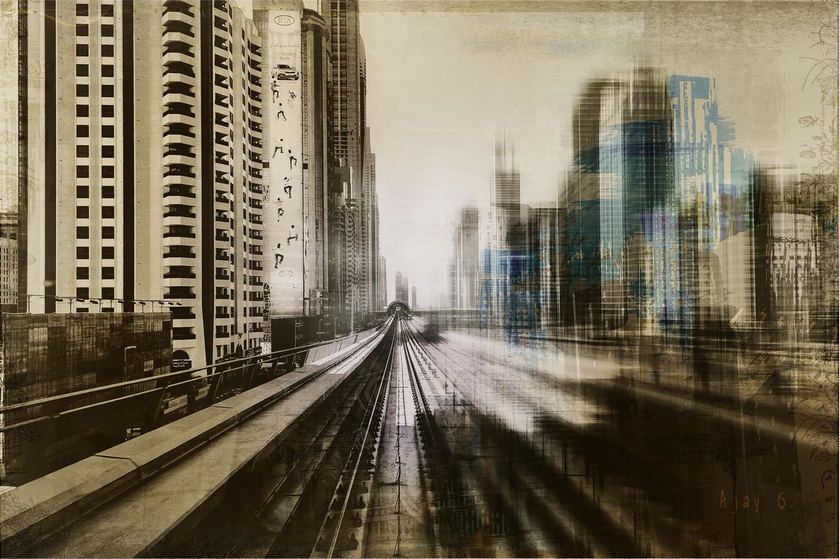 Metro-polis #6 by Ajay Goel, Image Digital Art, Digital Print on Archival Paper, Brown color