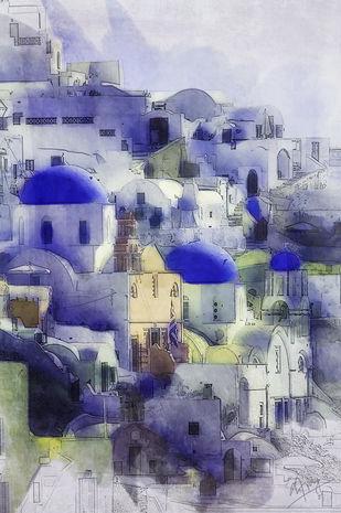 Oia dreams by Ajay Goel, Digital Digital Art, Digital Print on Archival Paper, Blue color