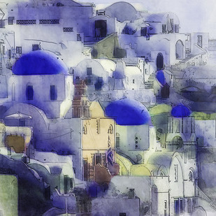 Oia dreams by Ajay Goel, Digital Digital Art, Digital Print on Archival Paper, Blue color