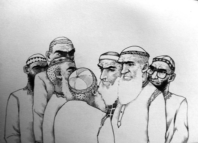 post prayer Dialogue II by Charudatta Prabhudesai, Illustration Drawing, Pen & Ink on Paper, Gray color