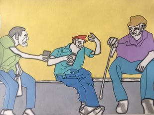 Club 60 by Amrit Khurana, Expressionism Painting, Acrylic on Paper, Brown color