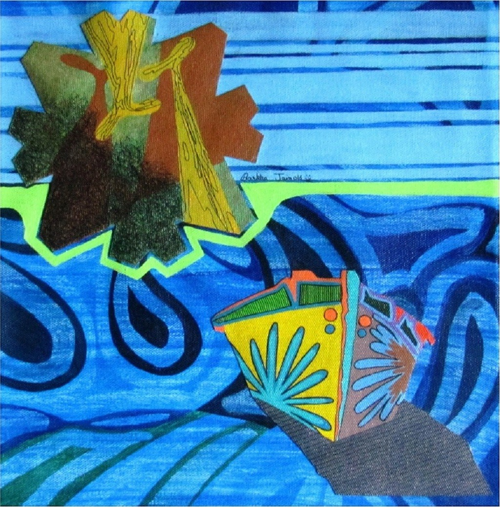 Nature Boat Series 21 by Barkha jain, Expressionism Painting, Mixed Media on Canvas, Blue color