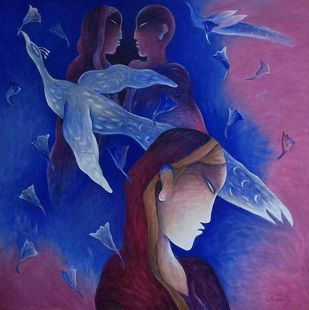 Day Dream by Anant Mehta, Expressionism Painting, Acrylic on Canvas, Blue color