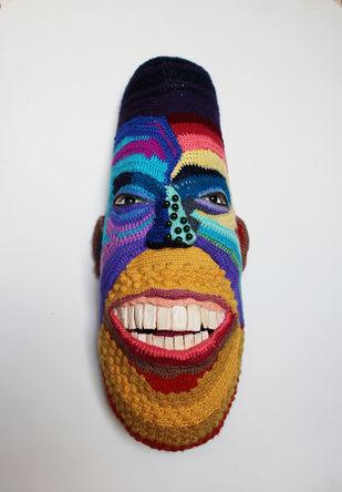 Mask 15 by Archana Rajguru, Art Deco Sculpture | 3D, Mixed Media, Gray color