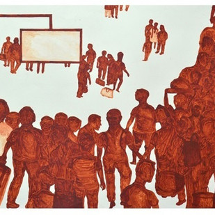 MYSORE-HOWRAH EXPRESS CANCELLED by OBAYYA, Impressionism Painting, Acrylic on Paper, Brown color