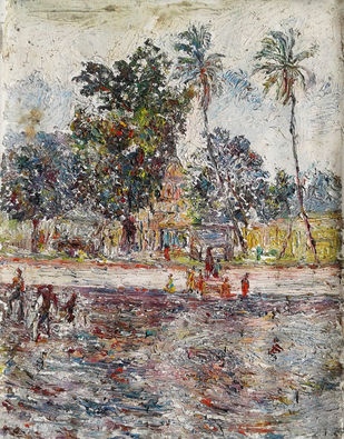 LIVE TEMPLE by SATHYAMUTHU AURONACHALAM, Impressionism Painting, Oil on Canvas, Brown color