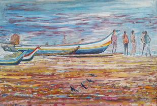 SEASHORE LIFE by SATHYAMUTHU AURONACHALAM, Impressionism Painting, Oil on Canvas, Brown color