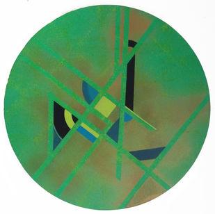 UNTITLED I by Moksha Kumar, Geometrical Painting, Acrylic on Canvas, Green color