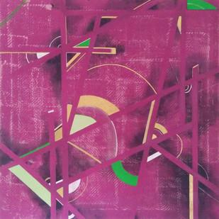 UNTITLED II by Moksha Kumar, Geometrical Painting, Acrylic on Canvas, Purple color