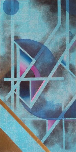 UNTITLED III by Moksha Kumar, Geometrical Painting, Acrylic on Canvas, Green color