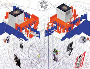 THE ART GALLERY THAT STOPPED VALLERY by Swati Jain, Geometrical Digital Art, Digital Print on Paper, Gray color