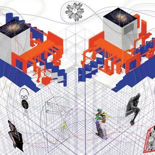 THE ART GALLERY THAT STOPPED VALLERY by Swati Jain, Geometrical Digital Art, Digital Print on Paper, Gray color