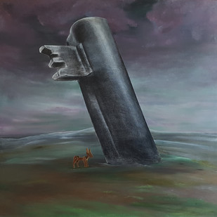 Finding the Key by Manu Singh, Surrealism Painting, Mixed Media on Canvas,