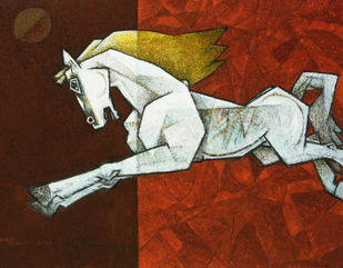 charging ahead in my dreams-7 by Dinkar Jadhav, Expressionism Painting, Acrylic on Canvas, Brown color