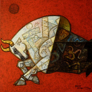 celebration-23 by Dinkar Jadhav, Expressionism Painting, Acrylic on Canvas, Red color