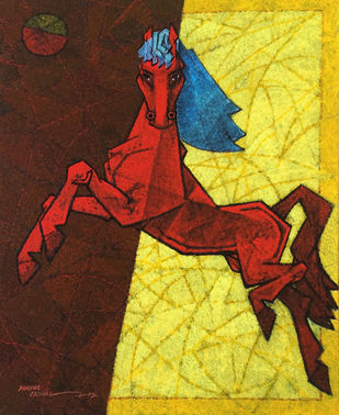 dancing under the moonlight-30x24 by Dinkar Jadhav, Expressionism Painting, Acrylic on Canvas, Brown color